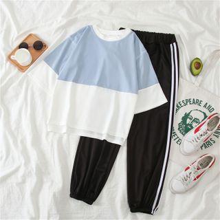 Clover Dream - 套裝: 雙色T裇 + 條紋運動褲