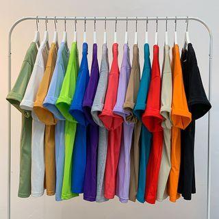 JUN.LEE - Short-Sleeve Round Neck Plain T-Shirt