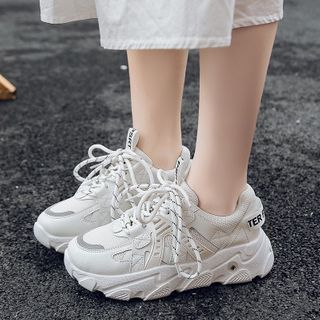YIVIS - Mesh Panel Platform Lace-Up Sneakers