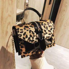 BAGSHOW - Leopard Print Faux Leather Handbag