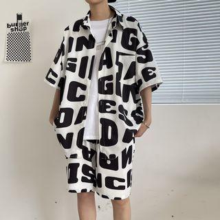 Andrei - 套裝:短袖印花襯衫 + 短褲
