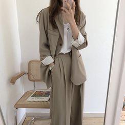 Bakli - 純色單排扣西裝外套 / 寬腿褲