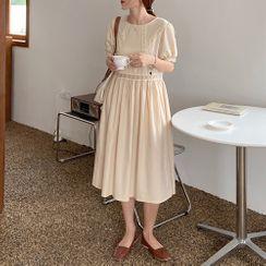 Bakli - Short-Sleeve Lace Trim Panel Dress