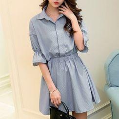 Everose - Smocked-Waist Collared Dress