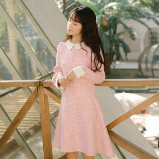 Woodine - Long-Sleeve Tweed Mini A-Line Dress