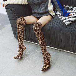 Martha - High-Heel Leopard Print Over The Knee Boots