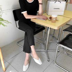 Seoul Fashion(ソウルファッション) - Zip-Side Boot-Cut Dress Pants