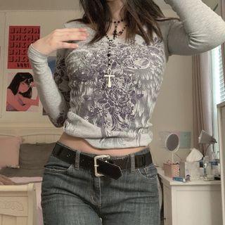 BrickBlack - Floral Print Long-Sleeve T-Shirt