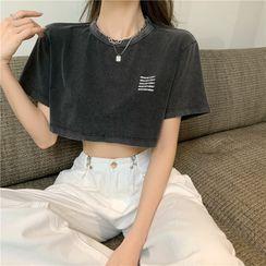 Lavenus - Short-Sleeve Lettering Print Dance Cropped T-Shirt