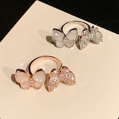 True Glam - Cat Eye Stone / Rhinestone Butterfly Ring