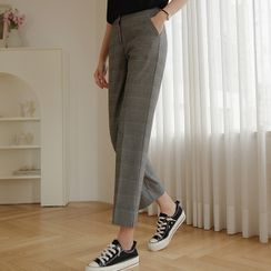 JUSTONE(ジャストワン) - Slit-Side Plaid Straight-Leg Pants