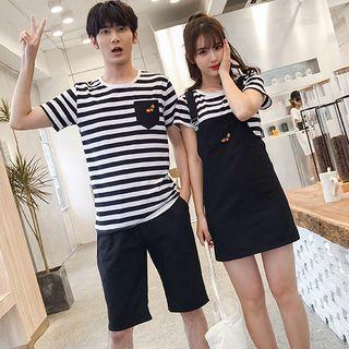 Azure(アズール) - Couple Matching Short-Sleeve Striped T-Shirt / Shorts / Embroidered Mini Dungaree Dress