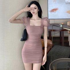 NENE - 方領短袖迷你塑身連衣裙