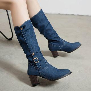 Freesia - 牛仔粗跟中筒靴