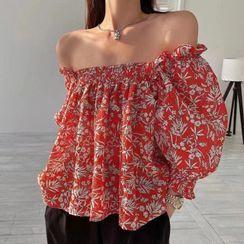 Dinse - Off-Shoulder Floral Print Loose-Fit Blouse