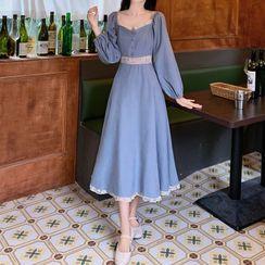Gray House - Puff-Sleeve Midi A-Line Dress