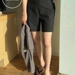 UPTOWNHOLIC - Band-Waist Linen Shorts