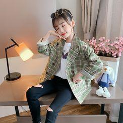 Qin Qin - 小童双排扣格子西装外套