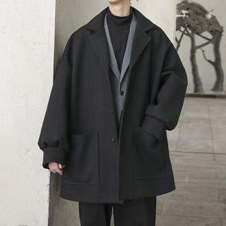 WidoWilder - Plain Notch Lapel Single-Breasted Jacket