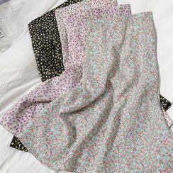 Oneiroi - Floral Print Midi A-Line Skirt