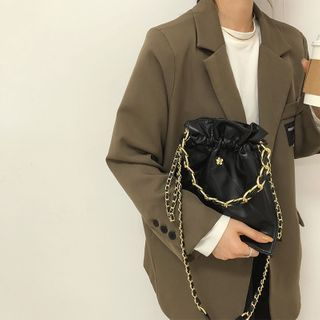 HOT KISS - Chain Faux Leather Crossbody Bag