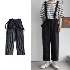 Ateso - 纯色直筒九分背带裤