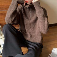 GOUB - 半拉鏈羅紋毛衣