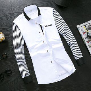 Kunji - Striped-Sleeve Shirt