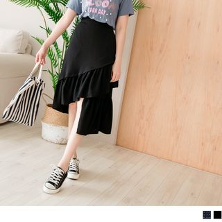 OrangeBear(オレンジベア) - Asymmetric Ruffle Hem Dotted Midi Skirt