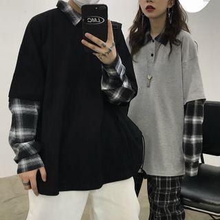 LINSI - Mock Two-Piece Plaid Panel Long-Sleeve Polo Shirt