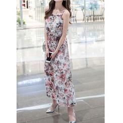 Dowisi - Spaghetti-Strap Floral Print Chiffon Dress