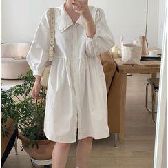 Windcatcher - 燈籠袖飾領純色襯衫連衣裙