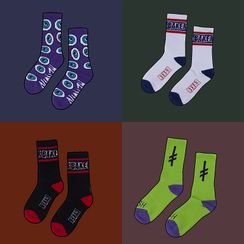 ASAIDA - Couple Matching Set Of 3 Pairs: Printed Socks