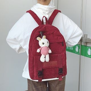HOVERUP - Doll Charm Buckled Corduroy Backpack