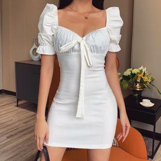 Alizio - Puff-Sleeve Mini Sheath Dress