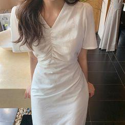 Brigitte - Short-Sleeve Shirred V-Neck Midi A-Line Dress