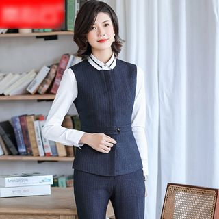Skyheart(スカイハート) - Single-Breasted Striped Blazer / Mini Fitted Skirt / Dress Pants / Vest / Set