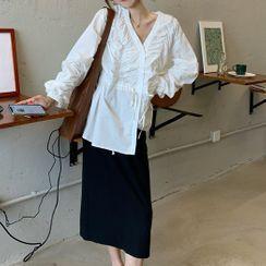 monroll - V-Neck Lantern-Sleeve Blouse / Midi Straight-Fit Skirt