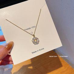 HANJUE - Flower Rhinestone Pendant Necklace