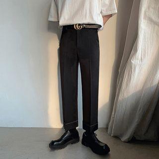 MRCYC - Contrast Stitching Straight Leg Cropped Dress Pants