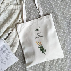 Basaran - Flower Print Canvas Tote Bag