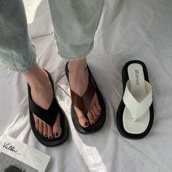 Chryse - Faux Leather Platform Flip Flops