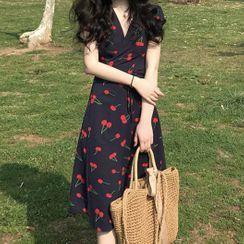 JOWI - Cherry Print Short-Sleeve Midi A-Line Dress