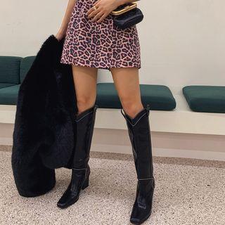 LIPHOP - Square-Toe Stitched Long Cowboy Boots