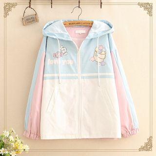 Kawaii Fairyland - Printed Color-Block Hooded Jacket