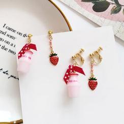 Yambo - 不對稱草莓牛奶耳墜