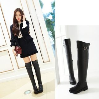 Shoes Galore - Buckled Over-the-Knee Boots