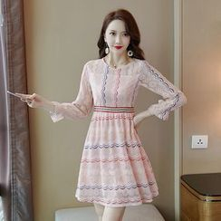Tanzil - Long-Sleeve Mini Lace Dress