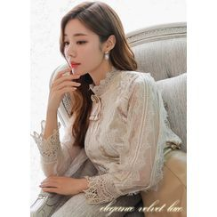 Styleonme - Sheer-Sleeve Lace Velvet Blouse