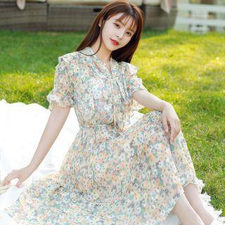 Petit Lace - Short-Sleeve Tie-Neck Floral Dress